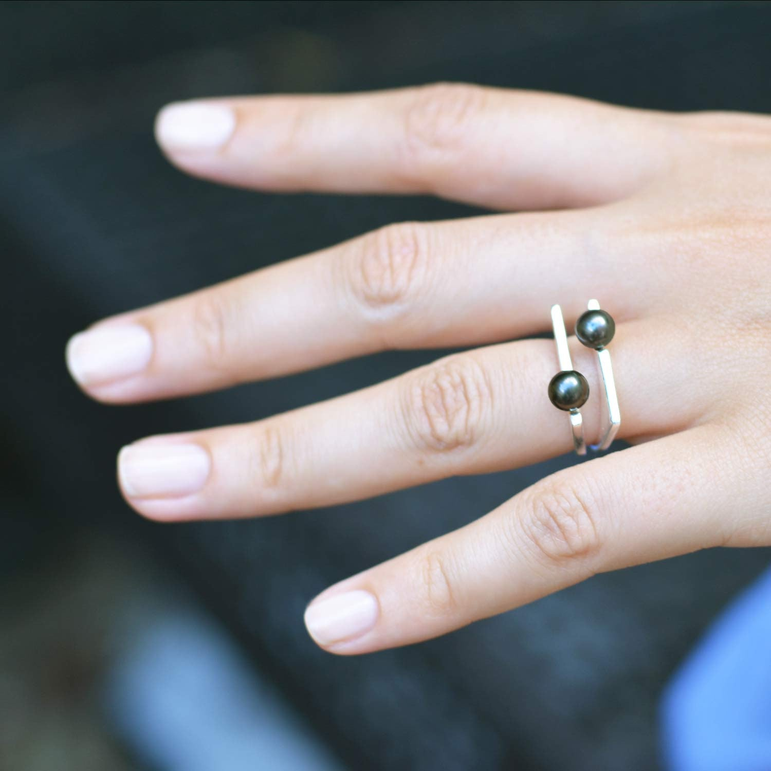 Silver Ring with Grey Pearl