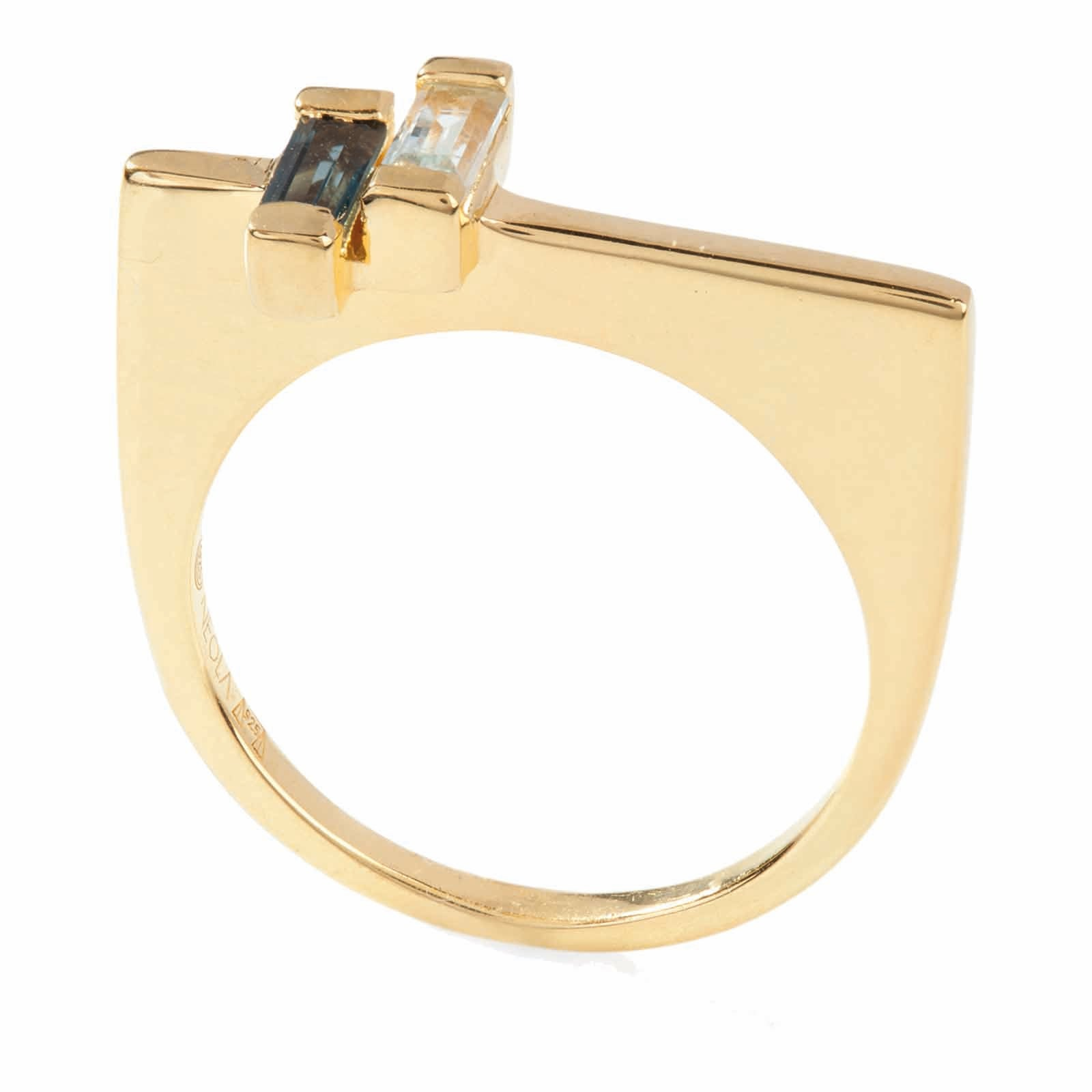 18ct gold vermeil set in sterling silver. anais ring with london and blue topaz. Fine British jewellery ethically handmade