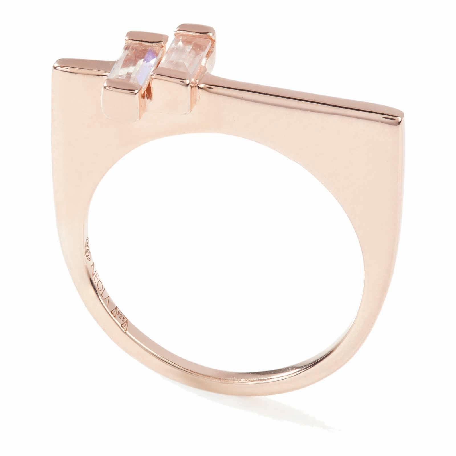 18ct rose gold vermeil set insterling silver. Anais ring with rose quartz. Fine British jewellery ethically handmade