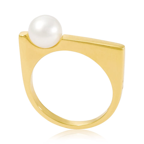 Gold Ring White Pearl | Neola British Handmade Jewellery