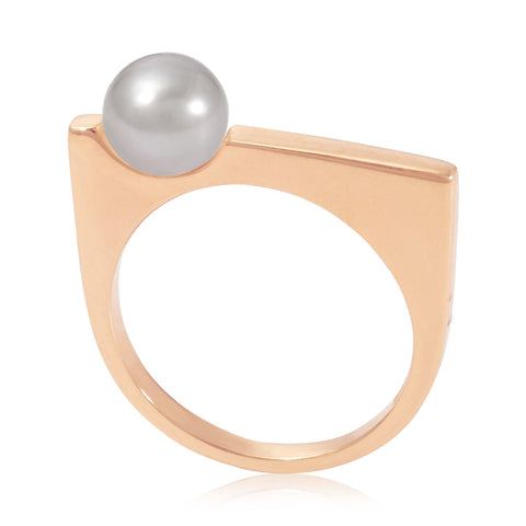 Rose Gold Ring Grey Pearl | Neola British Handmade Jewellery