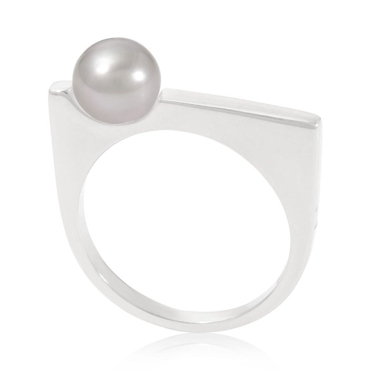 Minerva Silver Ring with Grey Pearl