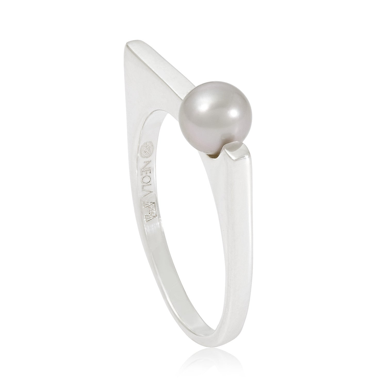 Grey Pearl Stacking Ring