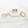 rose gold, sterling silver, gold, ring, stacking, organic, handmade, neola design stylish, luxury