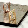 Gold vermeil, rose gold sculptured rings, Geometric, unique British design