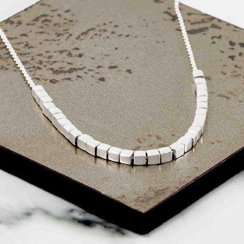silver necklace geometric designer British jewellery handmade