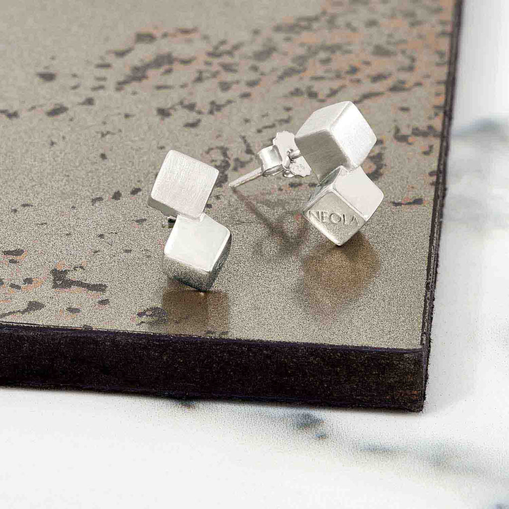 silver cube earrings, unique British design, geometric, minimalist