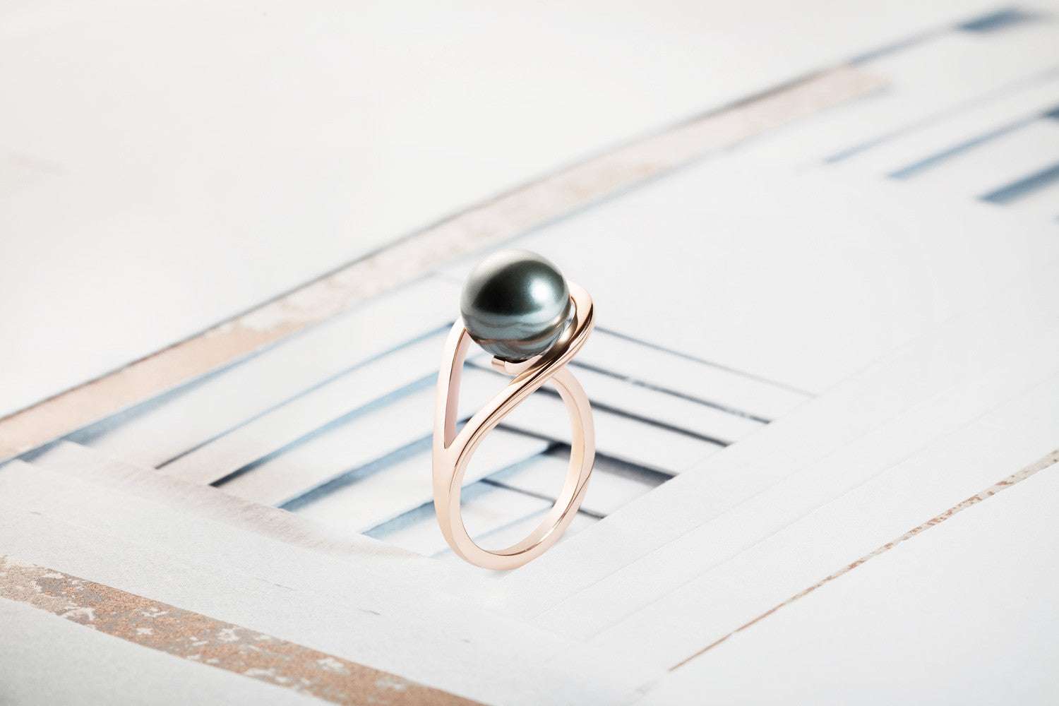 Rose Gold ring, grey pearl, geometric, unique British design, minimalist