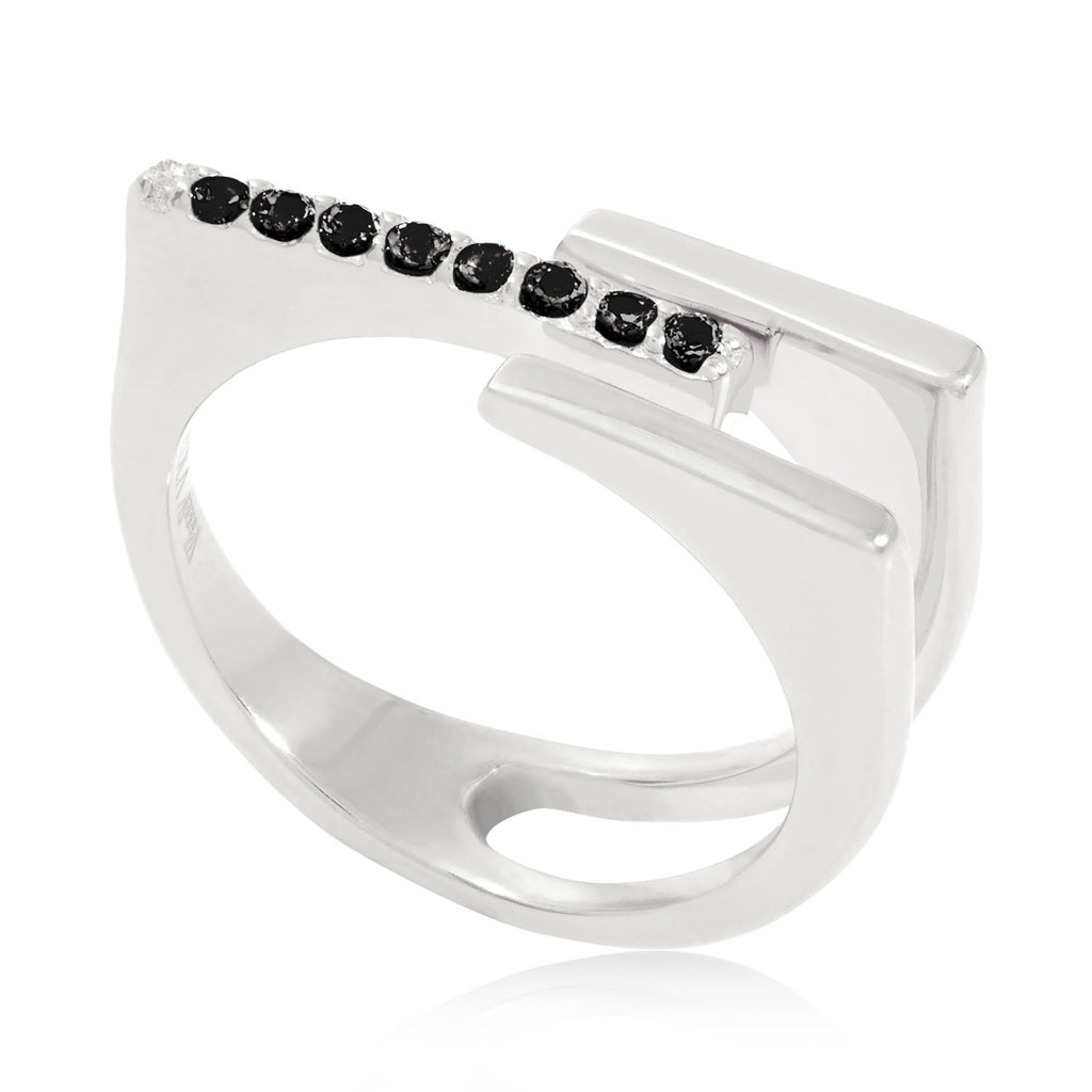 Neringa Silver Stacking Ring with Black Onyx