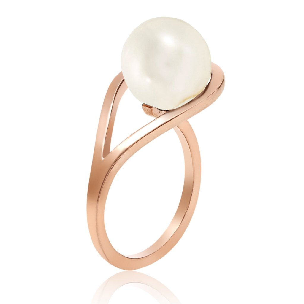 Silver ring, white pearl, geometric, unique British design, sustainable