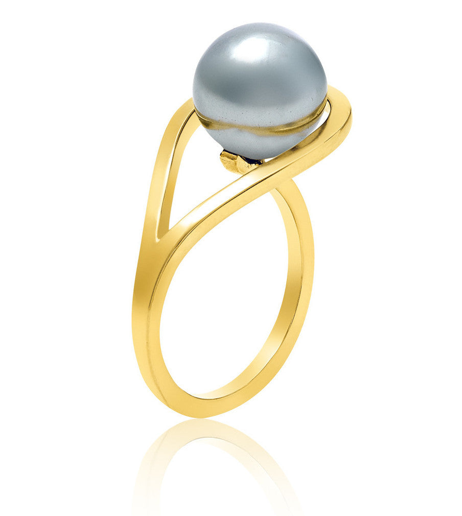 Gold ring Grey Pearl unique Handmade design