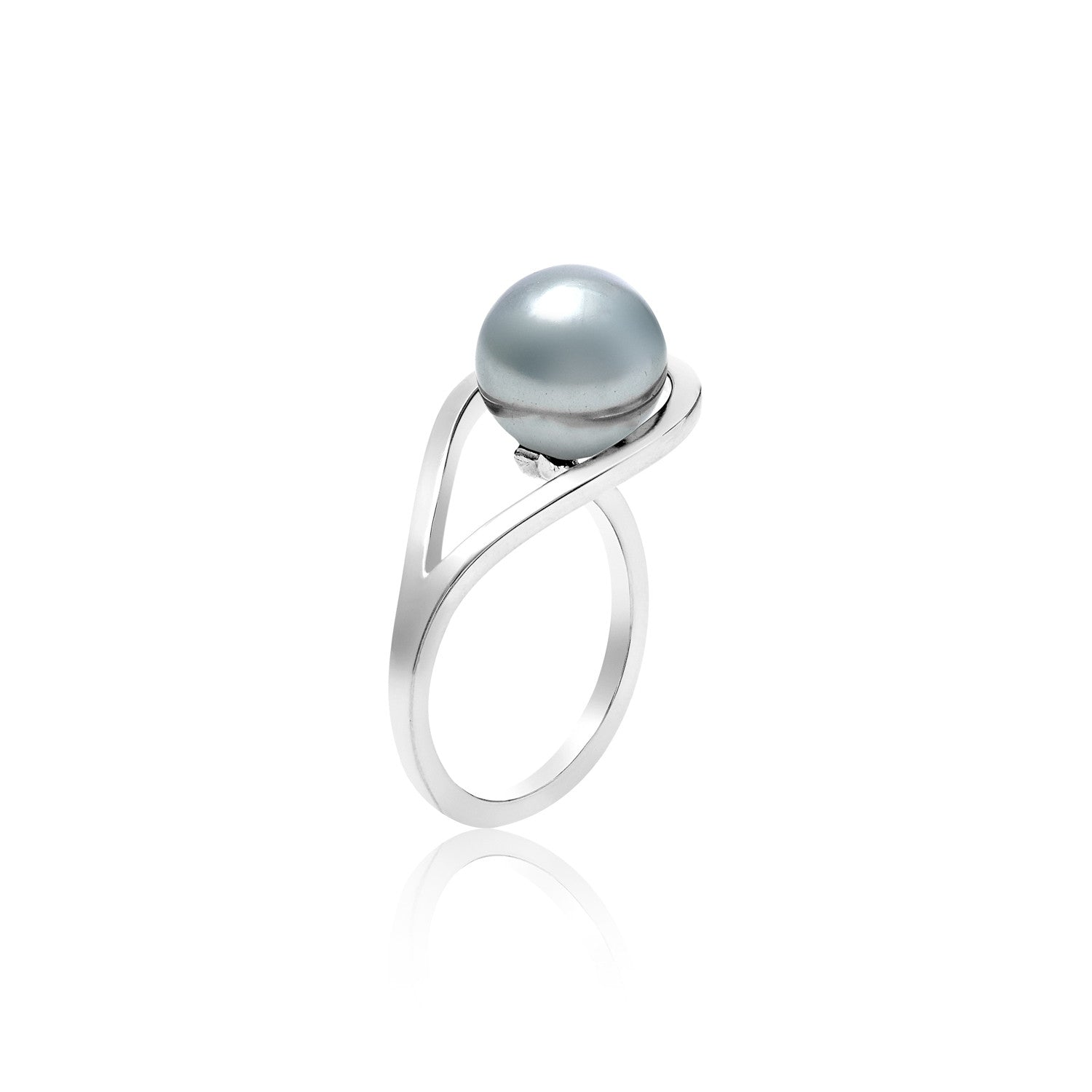 Silver Ring with Pearl, geometric, unique British design