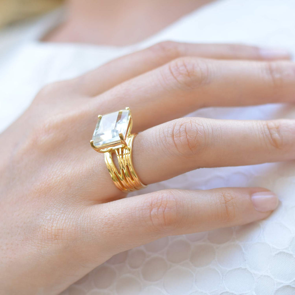 Gold vermeil cocktail ring, green amethyst gemstone, geometric, minimalist, unique British design