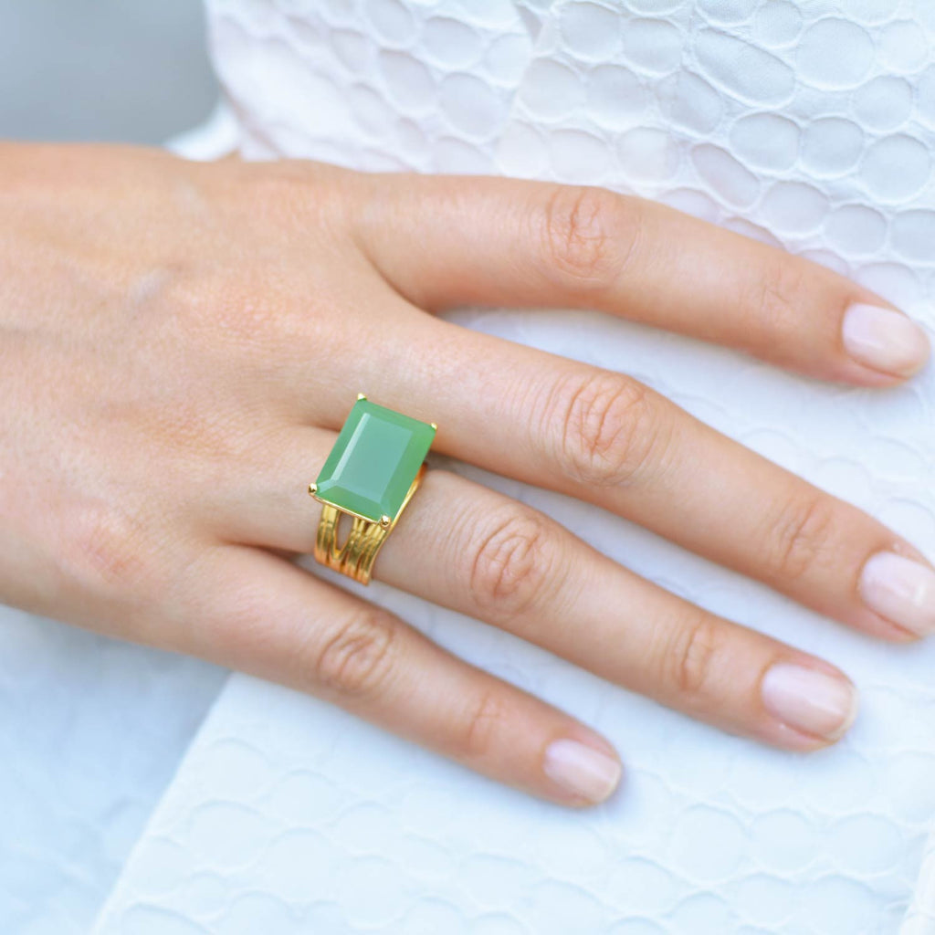 Gold cocktail ring, chrysoprase gemstone, geometric, unique British design