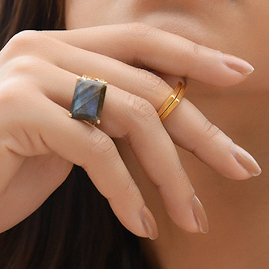 Gold vermeil cocktail ring, Labradorite gemstone, geometric, unique design