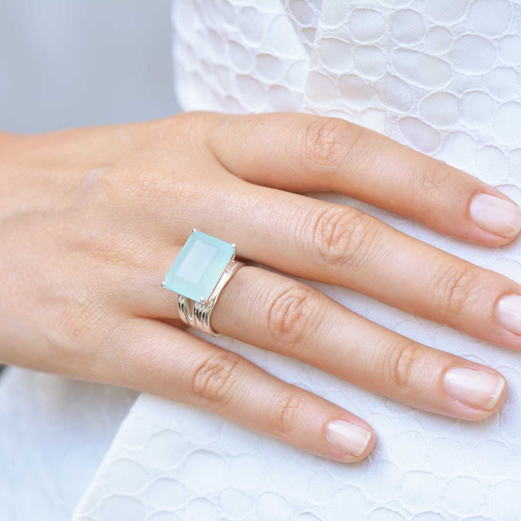 Silver cocktail ring, aqua chalcedony gemstone, geometric, minimalist, unique British design