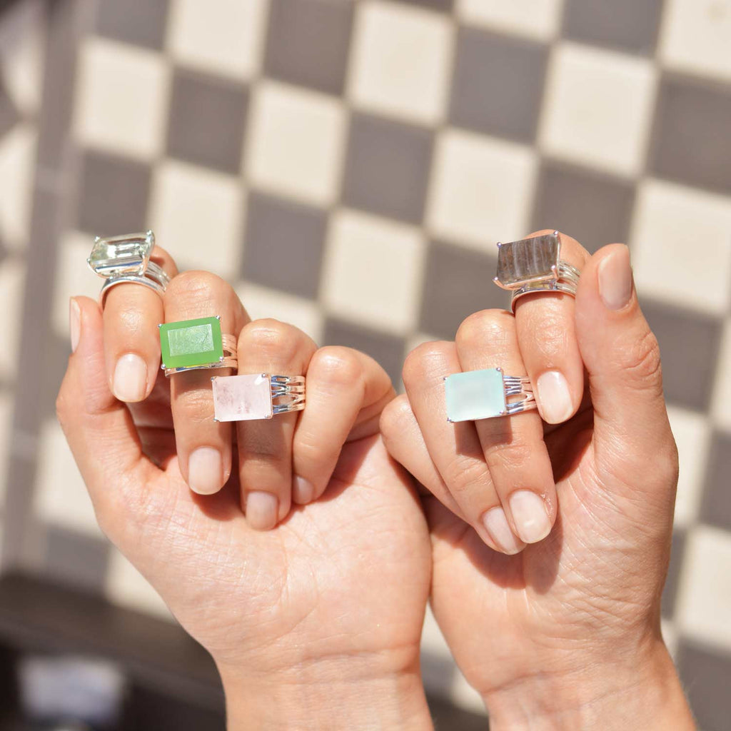 Silver, gold Cocktail Rings, gemstones, unique geometric British design