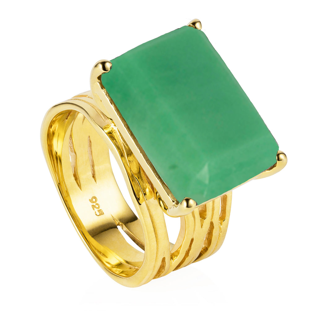 Gold vermeil cocktail ring, chrysoprase gemstone, geometric, unique British design