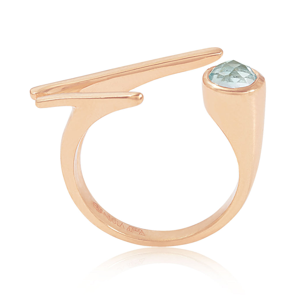 Roxanne Rose Gold Ring with geometric topaz