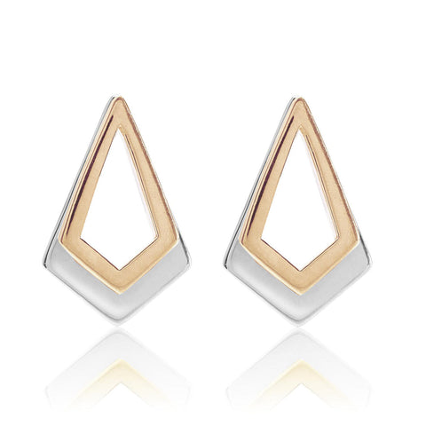 Rose Gold and Sterling Silver Earrings | Neola British Handmade Jewellery