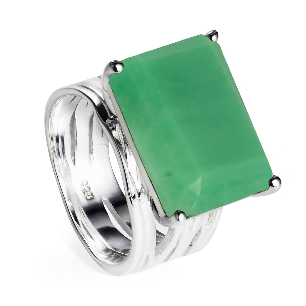 Sterling silver, cocktail ring, chrysoprase, gemstone, geometric, unique British design, neola design