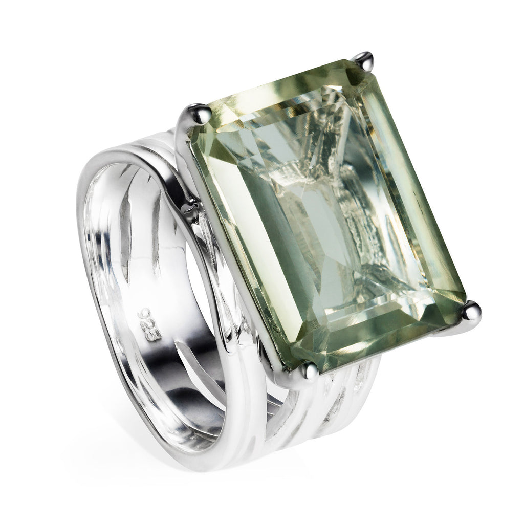 Sterling silver cocktail ring, green amethyst gemstone, geometric, unique British design
