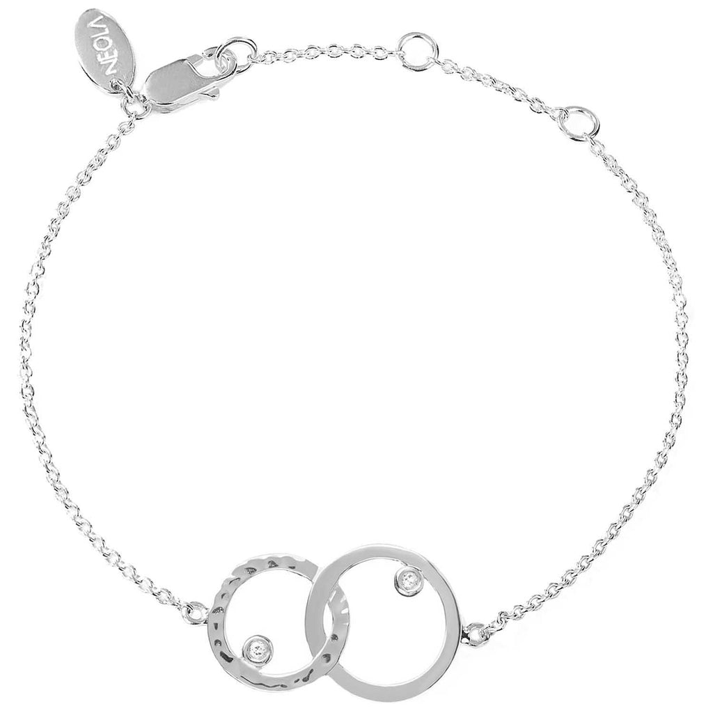 sterling silver unity bracelet with white topaz. Fine British jewellery ethically handmade