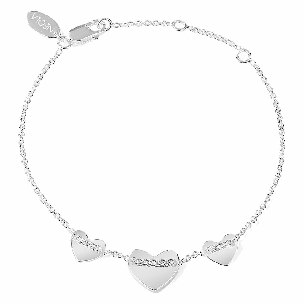 Sterling silver heart bracelet. Fine British jewellery ethically handmade