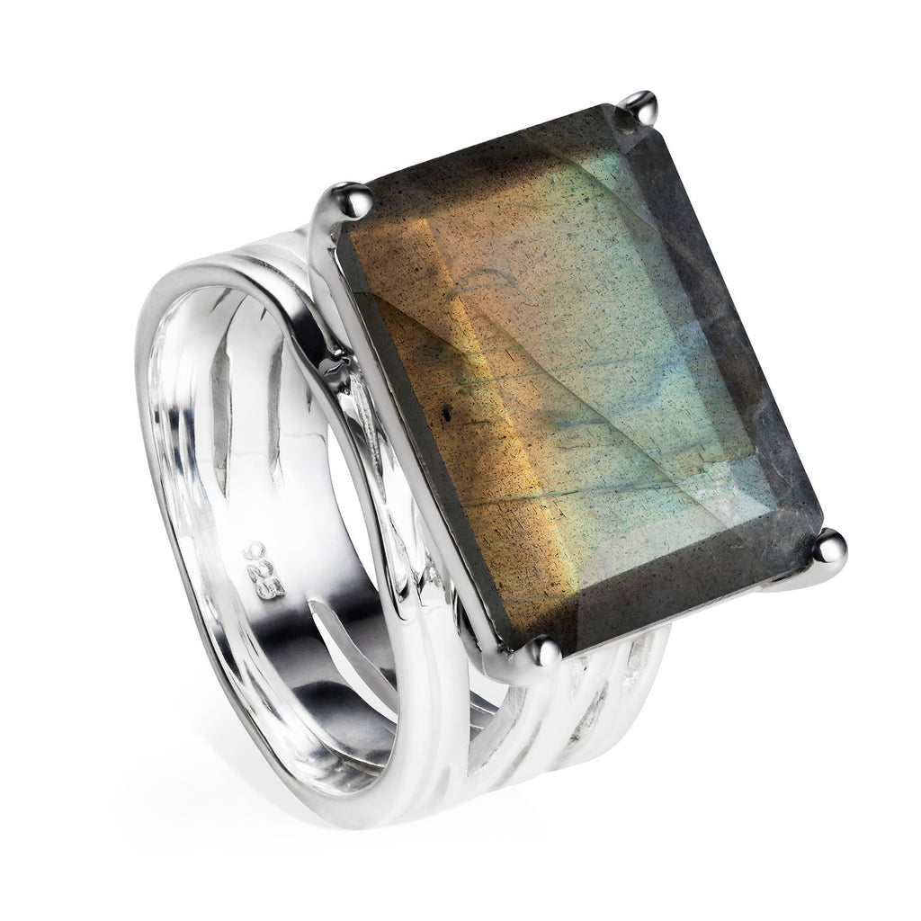 Sterling silver cocktail ring, Labradorite gemstone, geometric, unique British design