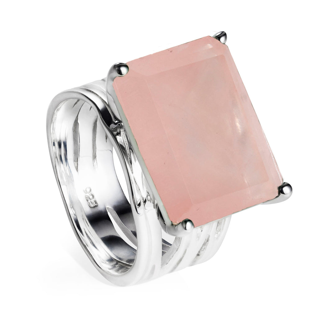 Sterling silver cocktail ring, rose quartz gemstone, geometric, unique British design
