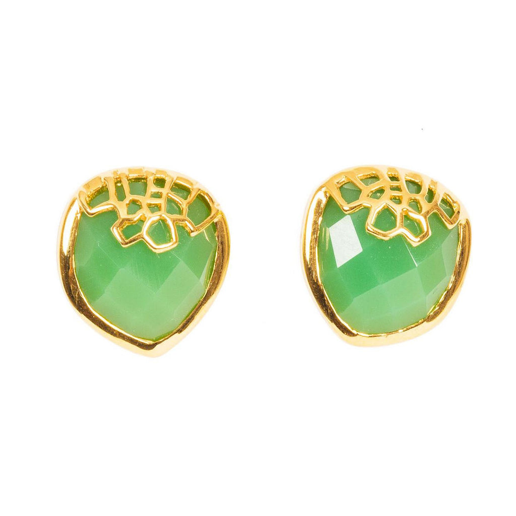 Honeycomb Gold Studs with Chrysoprase