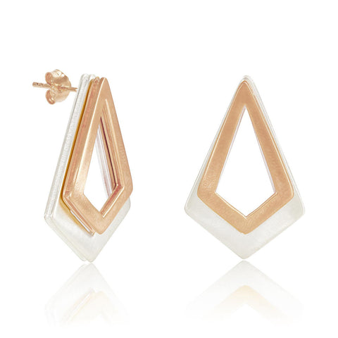 Serenity Rose Gold and Sterling Silver Earrings | Neola Design