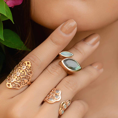 Rose Gold Cocktail Ring Labradorite and Aqua Chalcedony | Neola British Gemstone Jewellery