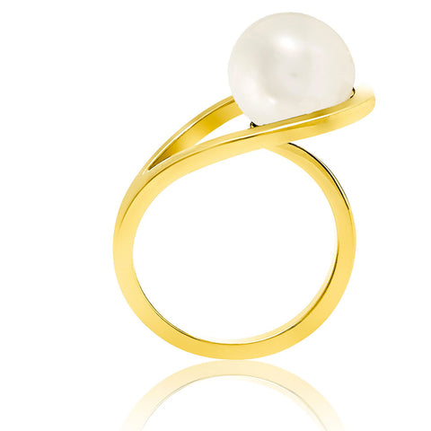 gold ring pearl British jewellery modern unique design
