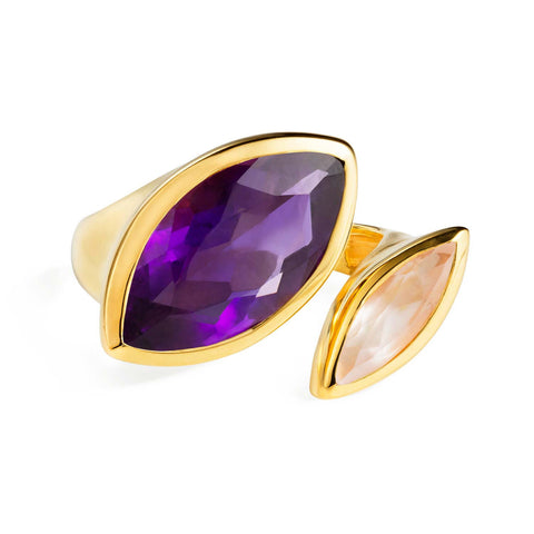 Gold Cocktail Ring Purple Amethyst and Rose Quartz | Neola British Gemstone Jewellery