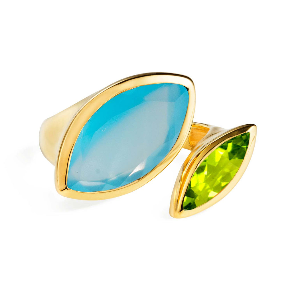Gold vermeil cocktail ring, Blue Chalcedony, Peridot gemstone, geometric, unique British design