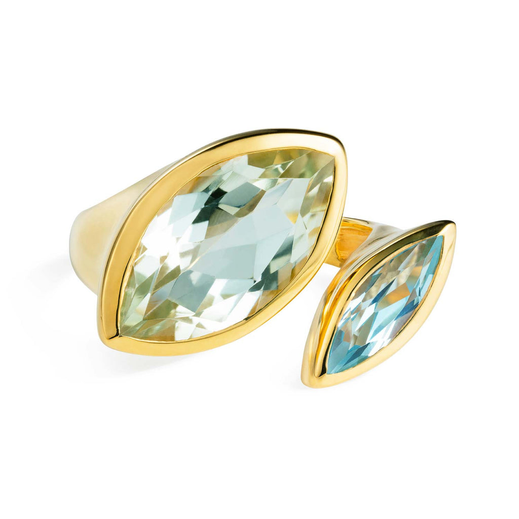 Celestine Gold Cocktail Ring Green Amethyst and Blue Topaz