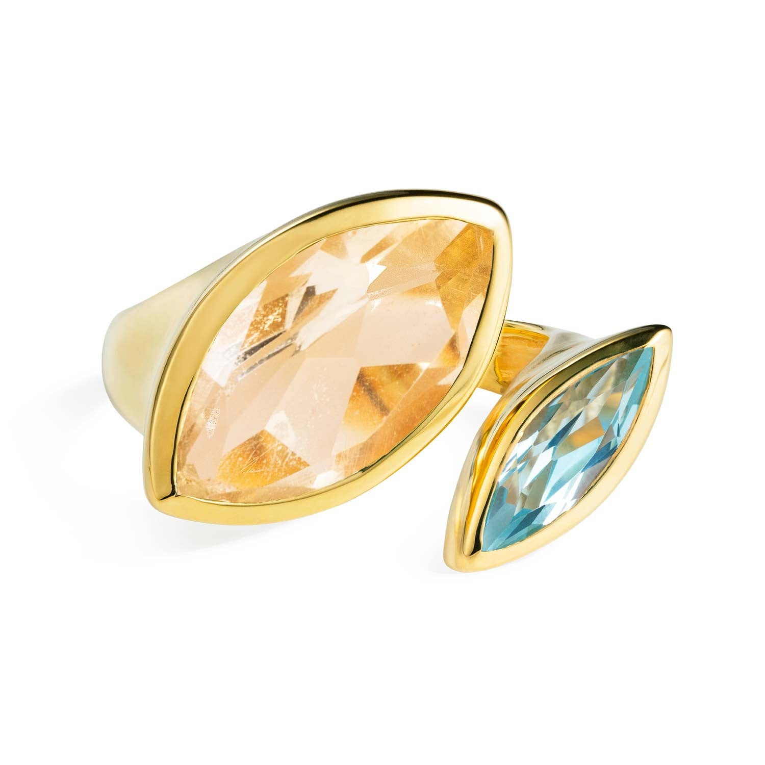 Celestine Gold Cocktail Ring with Citrine and Aqua Chalcedony