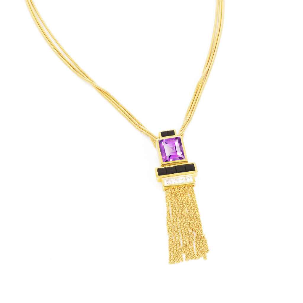 Gold Vermeil Necklace, Purple Amethyst, Black Onyx, unique British design, minimalist