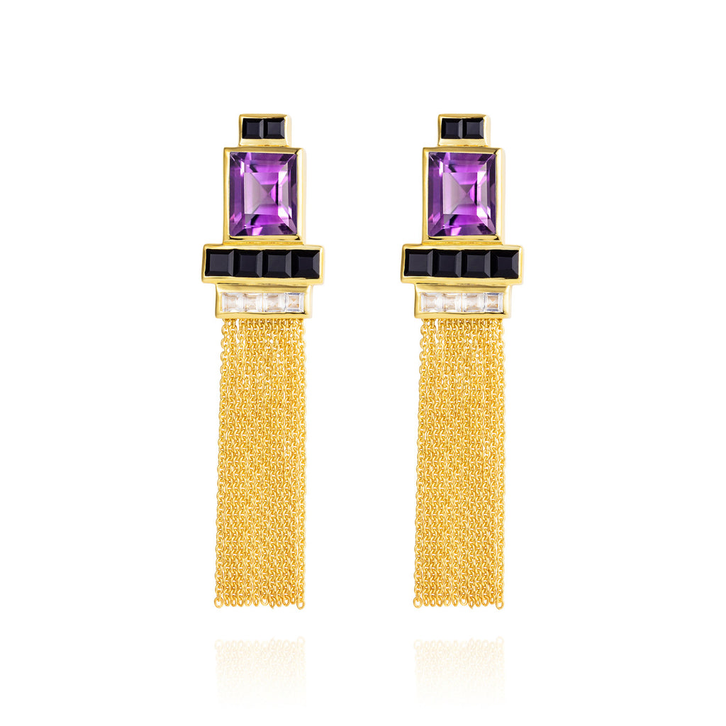 Gold vermeil earrings, purple amethyst, unique British design