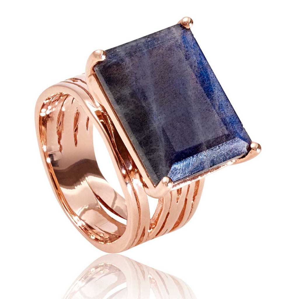 Rose gold vermeil cocktail ring, Labradorite gemstone, geometric, unique British design