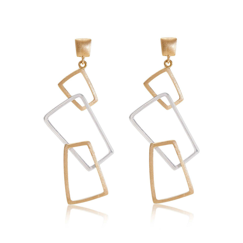 Geo Gold and Sterling Silver Earrings