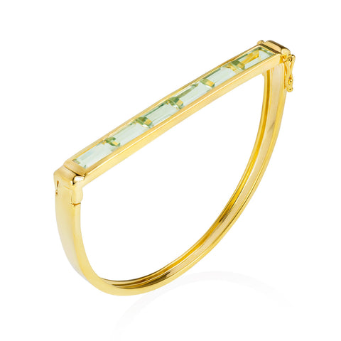 Equilibrium Gold Bangle with Green Amethyst