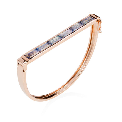 Rose Gold Bangle Labradorite Geometric | Neola British Gemstone Jewellery