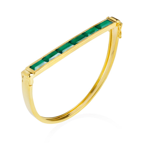 Gold Bangle Green Onyx Geometric | Neola British Gemstone Jewellery