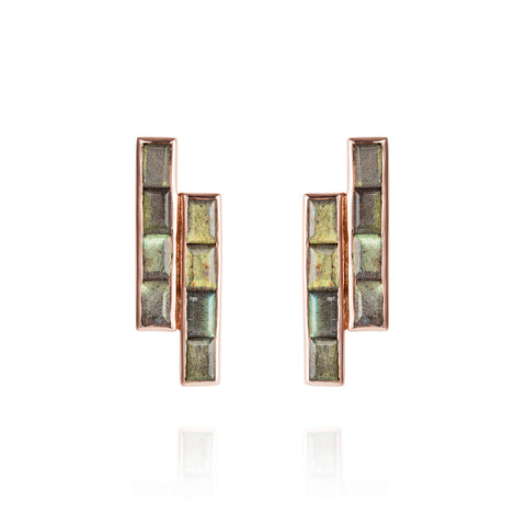 Rose Gold Earrings Labradorite Geometric | Neola British Gemstone Jewellery