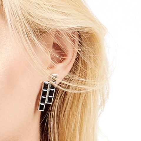 Sterling Silver Earrings Black Onyx Geometric | Neola British Gemstone Jewellery