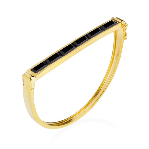 Gold Bangle Black Onyx Geometric | Neola British Gemstone Jewellery