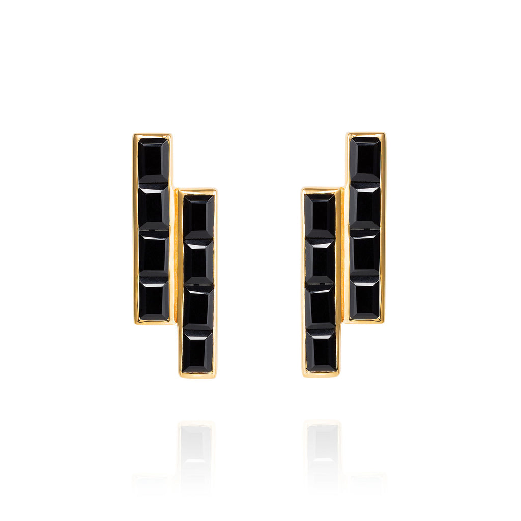 Equilibrium Gold Earrings with Black Onyx