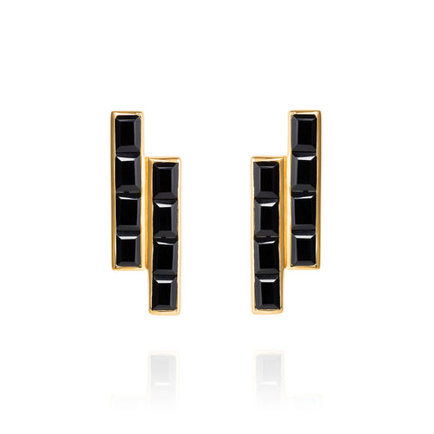 Gold Earrings Black Onyx Geometric | Neola British Gemstone Jewellery